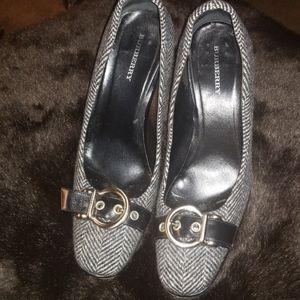 Burberry Herringbone and Leather Heels